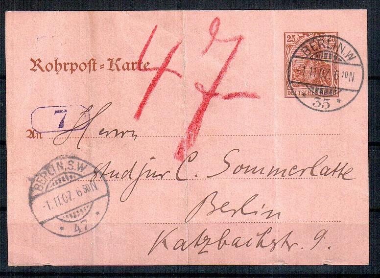 Deutsches Reich Karte.Rohrpost Karte Deutsches Reich Mi Nr Rp 13 O